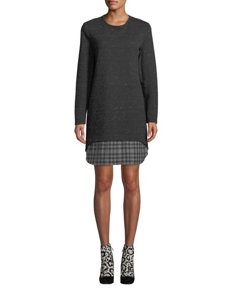 Madison Long-Sleeve Checkered-Layer Dress