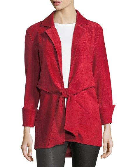 Sylvia Tie-Front Suede Jacket