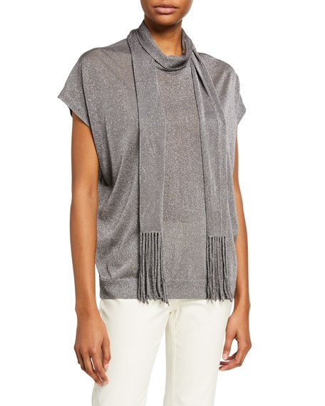Shimmer Knit Tunic with Fringed Scarf
