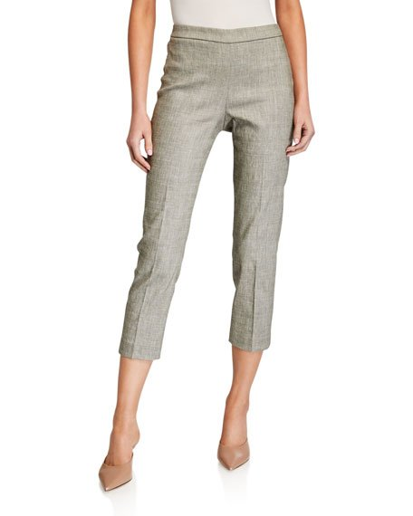 Cropped Linen Basic Pull-On Pants