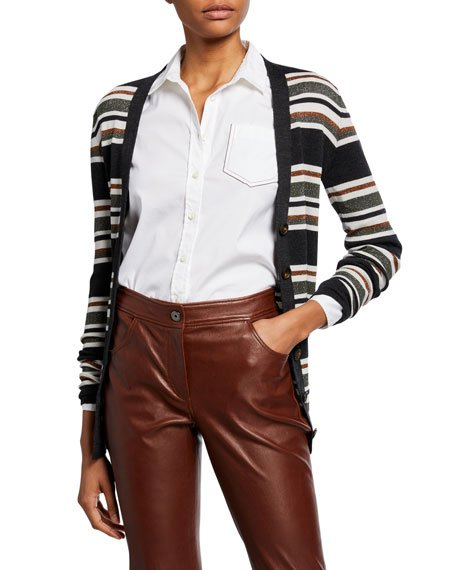 Wool-Cashmere Shimmer Striped Cardigan