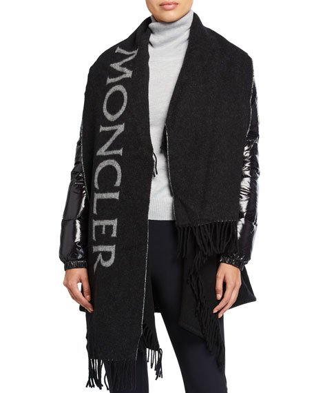 Puffer-Sleeve Wool Scarf Jacket