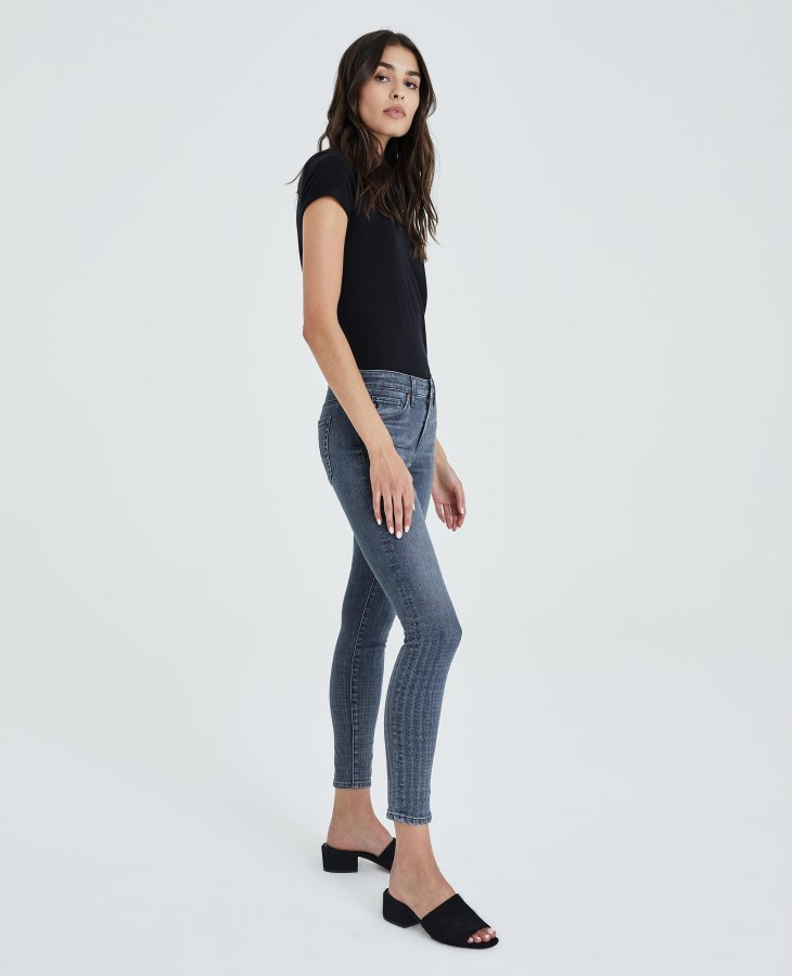 The Legging Ankle in Gray Light Plaid Ombre   AG Jeans Official Store