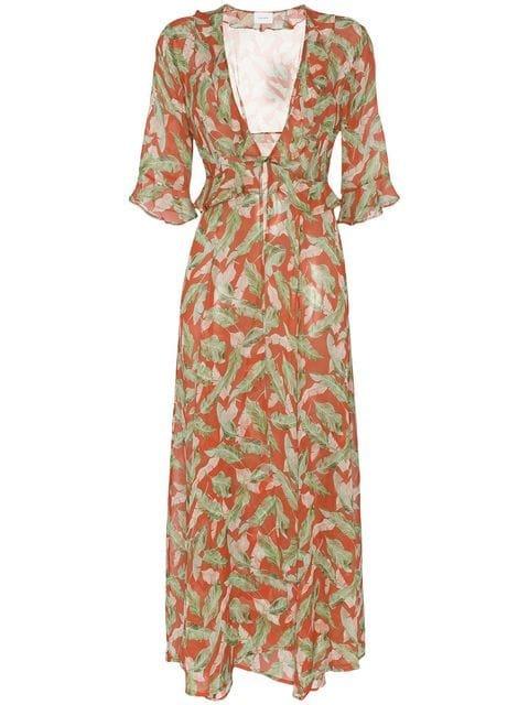 We Are Leone Leaf Print Maxi Robe - Farfetch