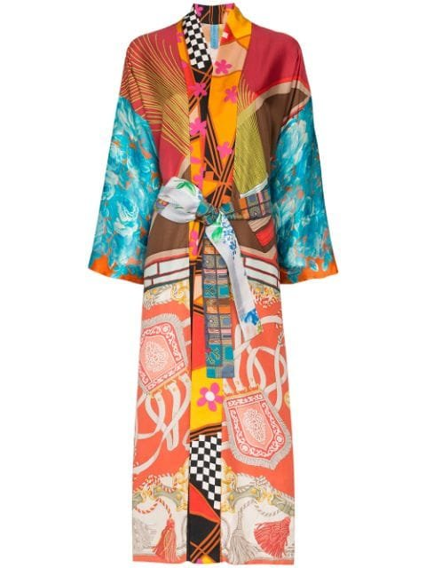 Rianna + Nina Mix Print Silk Kimono Robe - Farfetch
