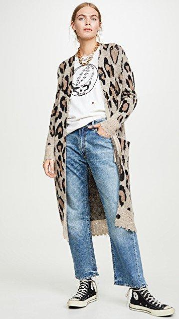 Long Leopard Cashmere Cardigan