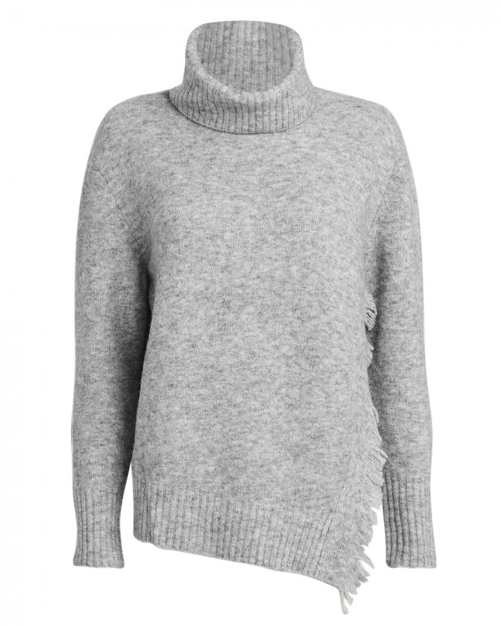Fringe Overlap Turtleneck Sweater