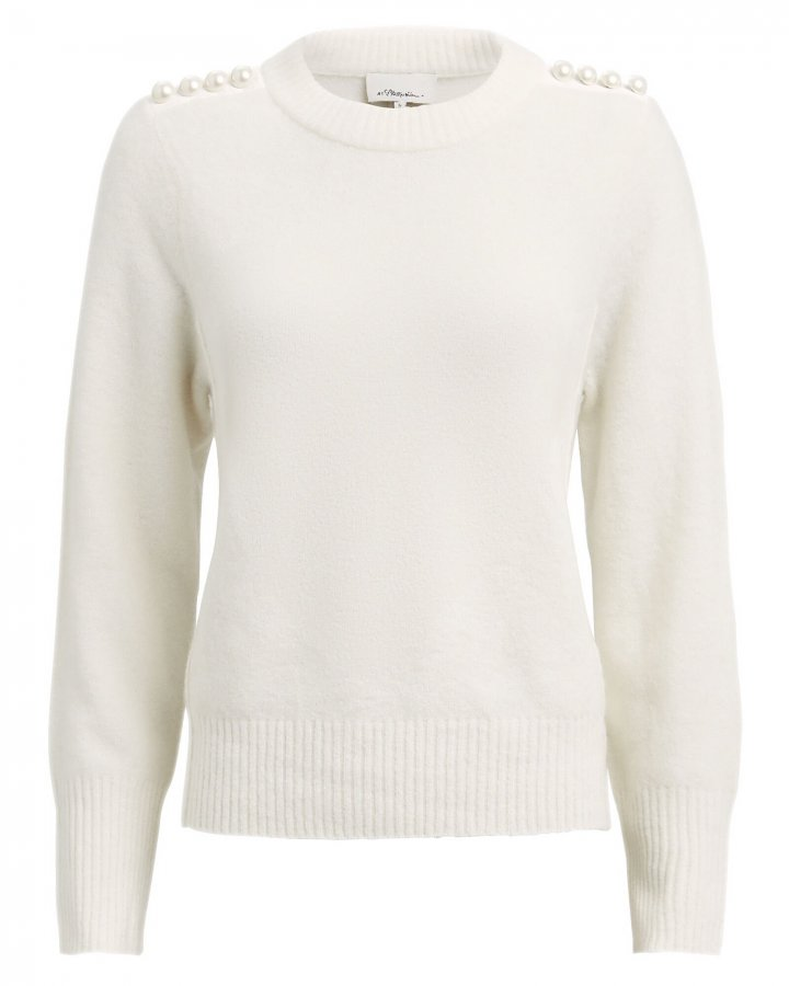 Lofty Pearl-Embellished Crewneck Sweater