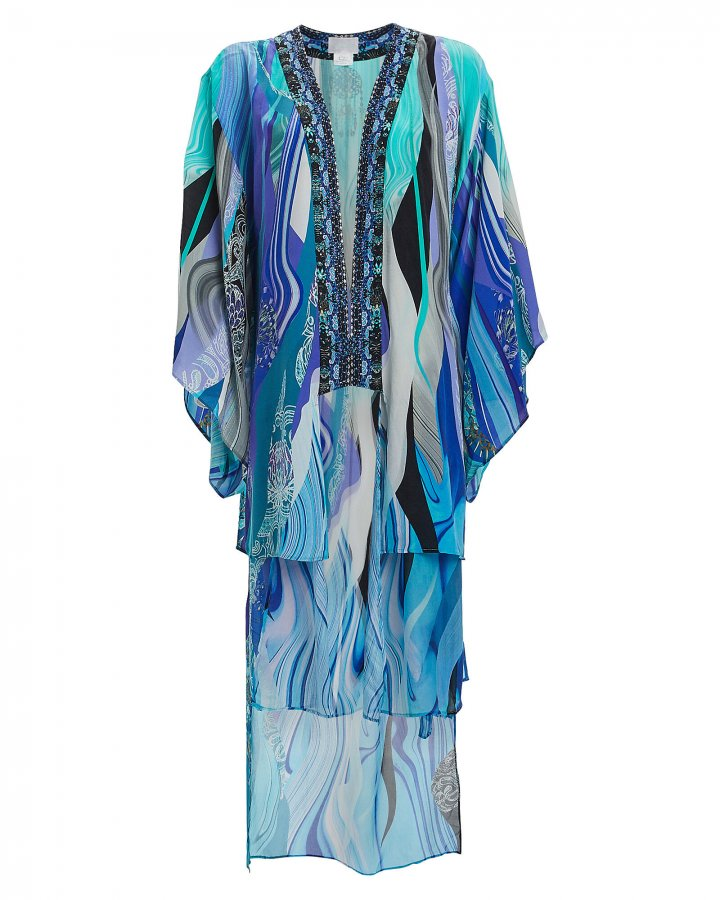 Embellished Printed Silk Chiffon Robe