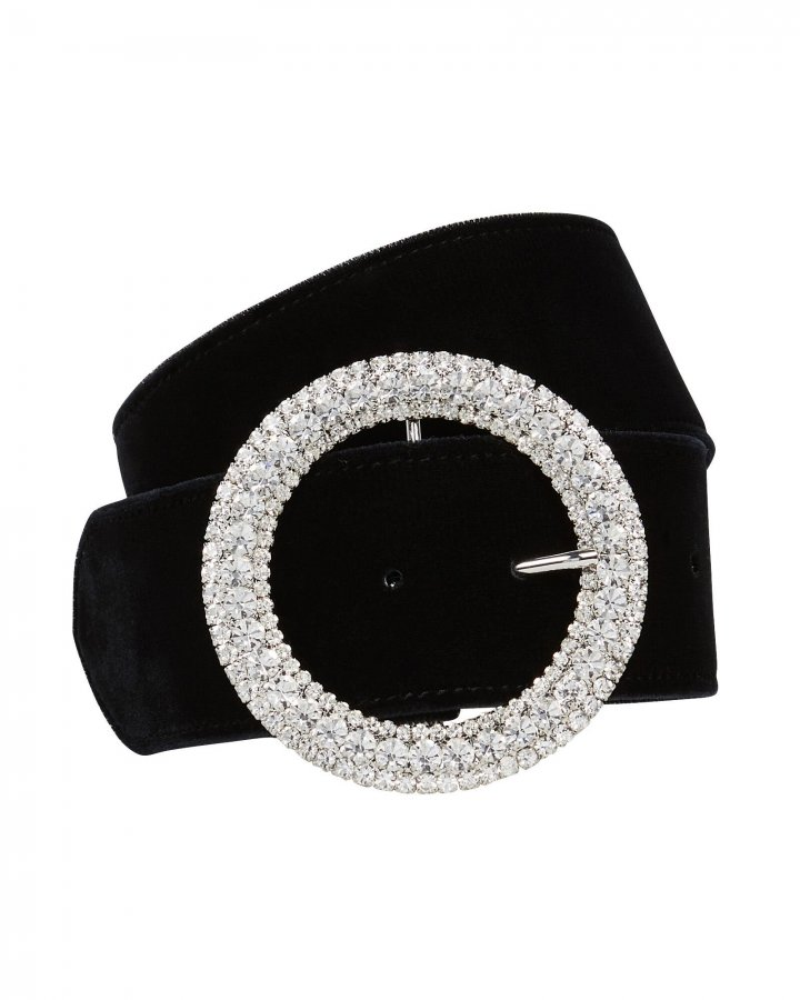 Clara Crystal Buckle Velvet Belt