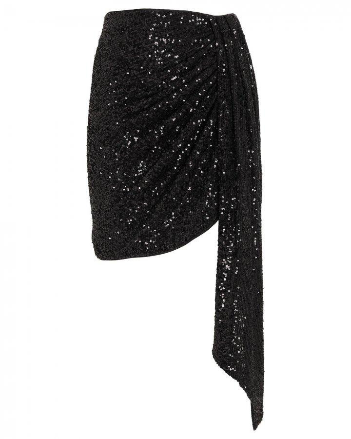 Draped Sequin Mini Skirt
