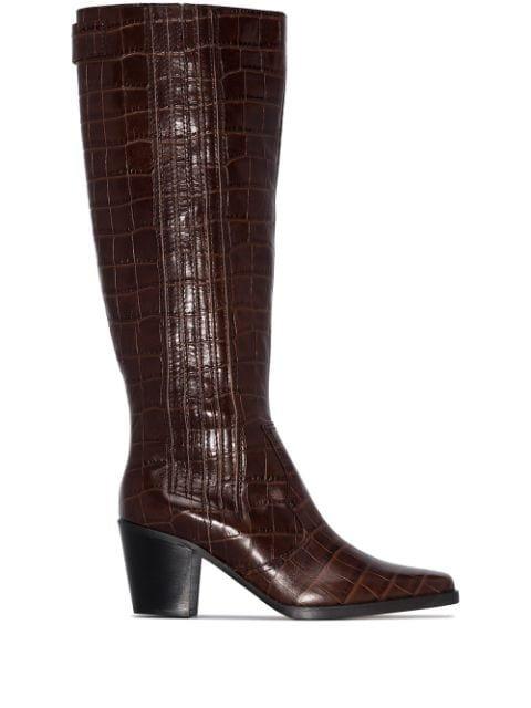 GANNI crocodile-effect 70mm knee-high Boots - Farfetch