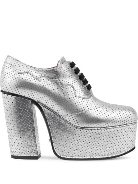 Gucci Metallic Platform lace-up Shoes - Farfetch