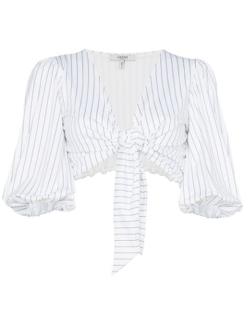 Ganni White Stripe Crop Top With Puff Sleeves - Farfetch
