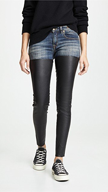 Leather Chap Jeans
