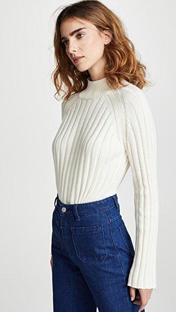 Wide Rib Turtleneck Sweater