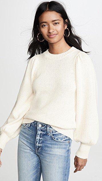 Puff Sleeve Crew Sweater