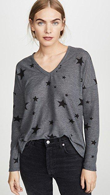 Star Print V Neck Easy Sweater