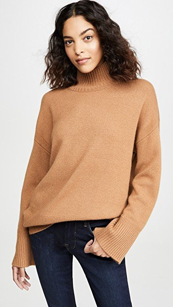 High-Low Cashmere Mock Neck Sweater