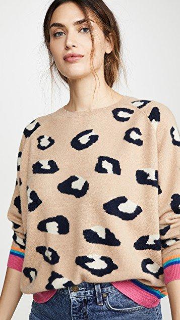 Multi Rib Leopard Cashmere Swearer