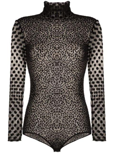 Alexia Hentsch Sheer Polka Dot Velvet Bodysuit - Farfetch