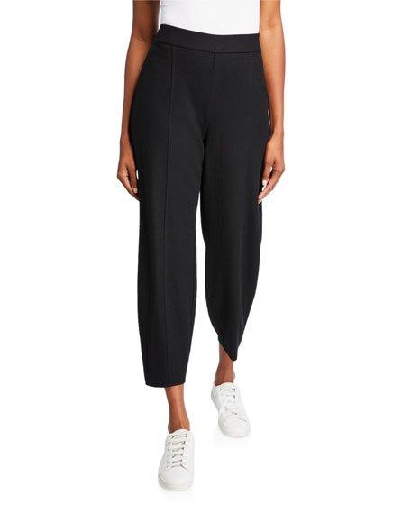 Plus Size Boiled Wool Jersey Lantern Ankle Pants