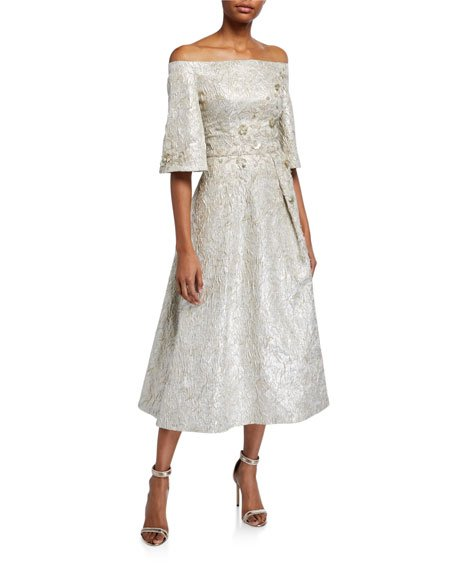 Beaded Metallic Jacquard Off-the-Shoulder Bell-Sleeve Midi Dress