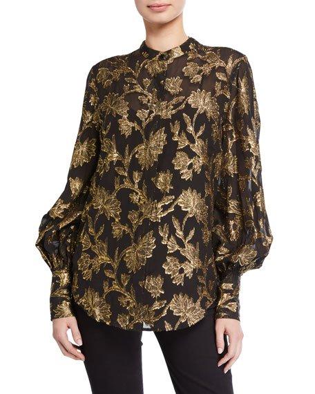 Boleyn Metallic Bishop-Sleeve Silk Blouse