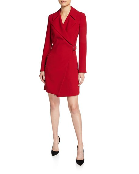 Charlotte Long-Sleeve Mini Dress with Notch Collar