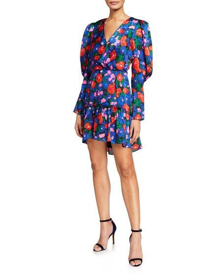 Eva Floral Puff-Sleeve Mini Dress