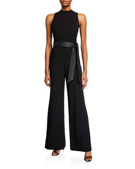 Lucca Mock-Neck Jumpsuit with Leather Belt