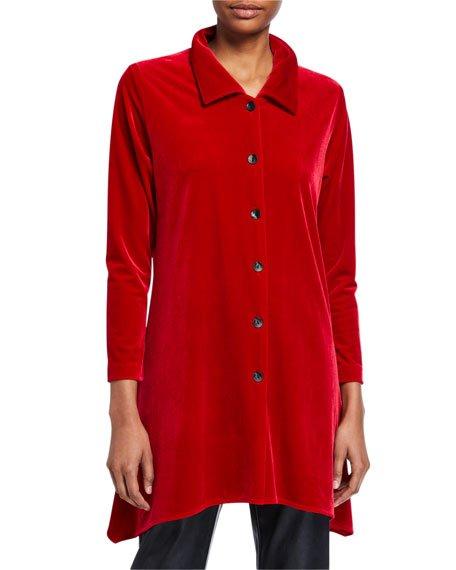 Petite Button-Front Long-Sleeve Stretch-Velvet Side-Fall Shirt