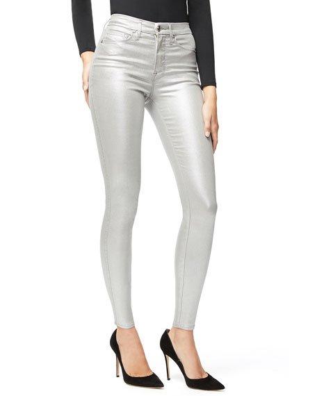 Good Waist Metallic Coated Skinny Jeans - Inclusive Sizing