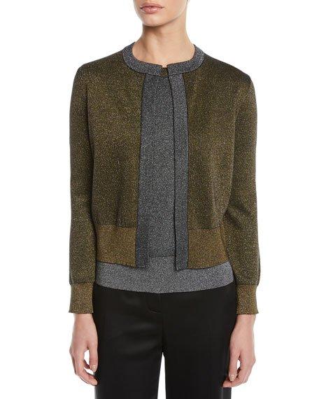 Open-Front Metallic-Knit Cardigan