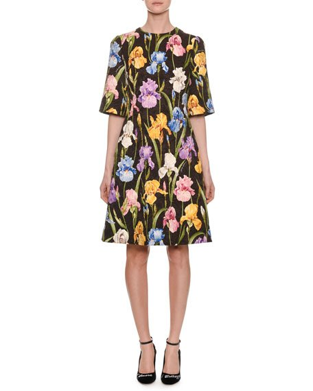 Elbow-Sleeve Iris-Print A-Line Brocade Dress