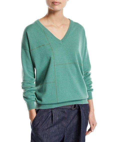 Cashmere Golden-Monili Grid Sweater