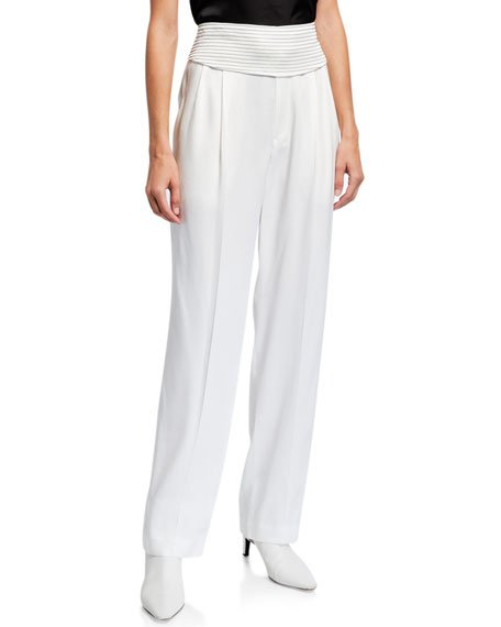 Pleated Silk Pants with Monili-Striped Belt