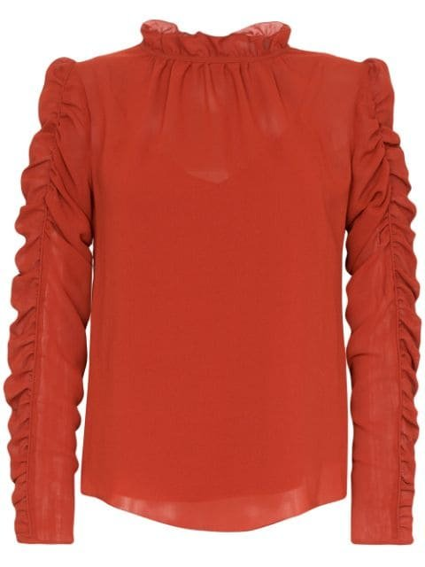 See By Chloé ruffle-neck Ruched Blouse - Farfetch