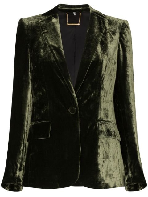 FRAME Crushed Velvet single-breasted Blazer - Farfetch