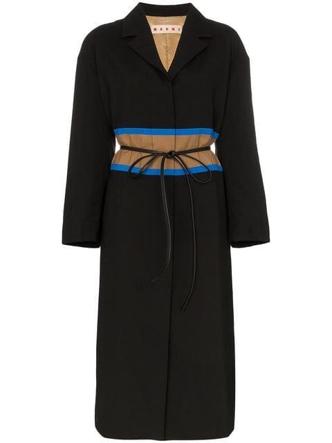 Marni Contrast Waistband Wool Coat - Farfetch