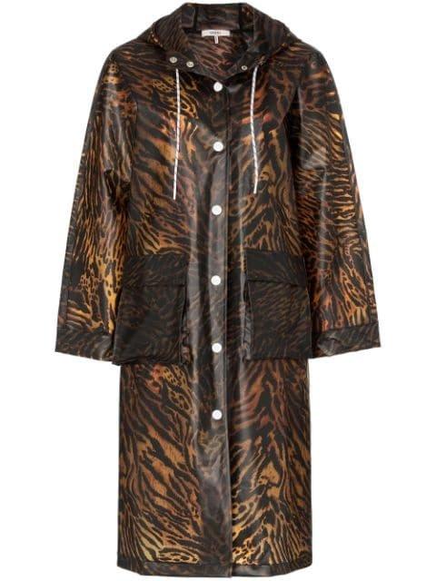 GANNI Tiger Print Hooded Raincoat - Farfetch