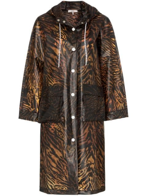 GANNI Tiger Print Hooded Raincoat - Farfetch