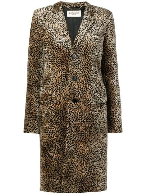 Saint Laurent Chesterfield Leopard Print Coat - Farfetch