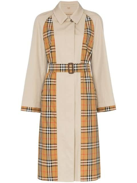 Burberry Guisley Check Print Panelled Cotton Trench Coat - Farfetch