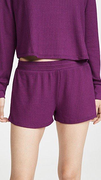 Sneak Peek Waffle Knit Lounge Shorts