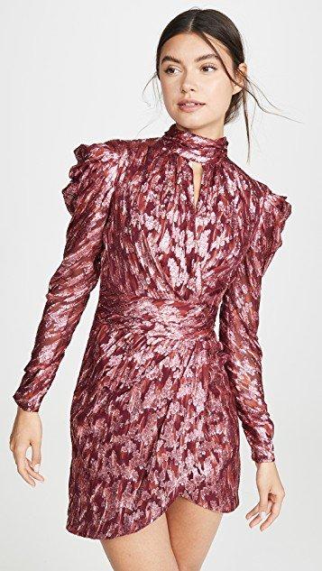 Metallic Vine Mock Neck Dress
