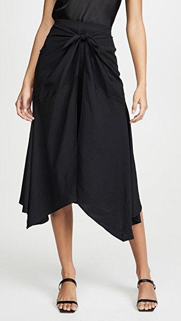 Tie Front Asymmetric Skirt