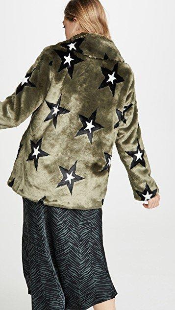 Star Print Faux Fur Swing Coat