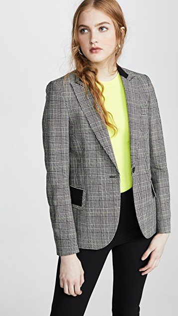 Black/White Plaid Check Blazer