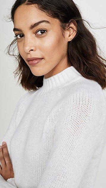 Cashmere Shrunken Mock Neck Sweater